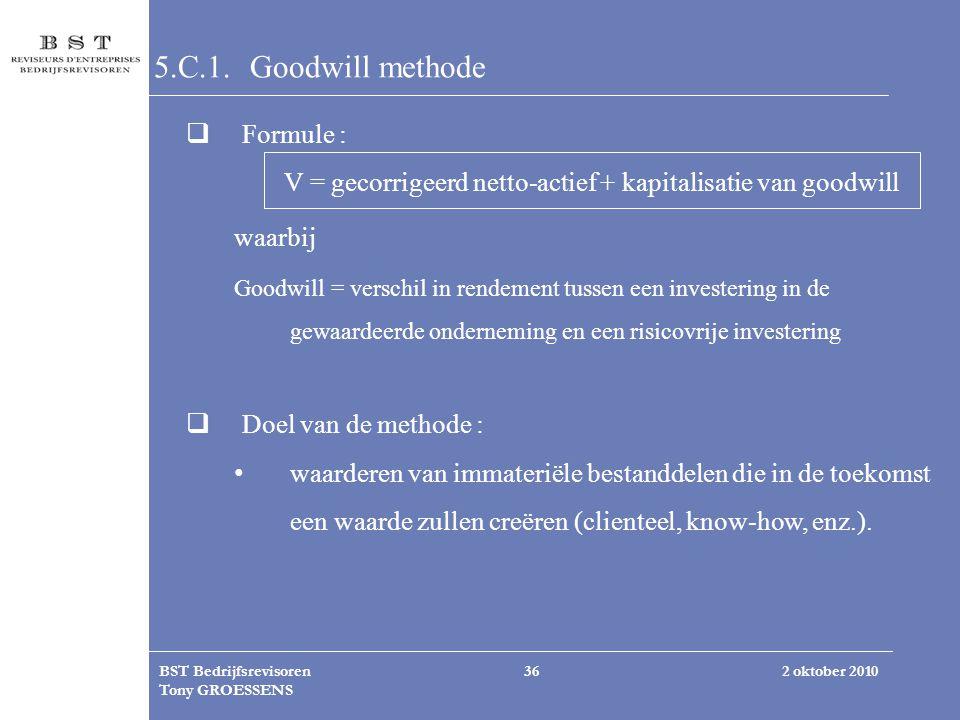 V = gecorrigeerd netto-actief + kapitalisatie van goodwill