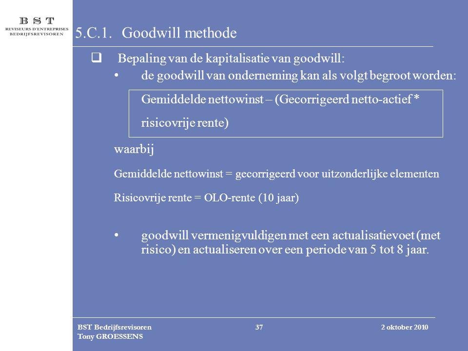 5.C.1. Goodwill methode Bepaling van de kapitalisatie van goodwill: