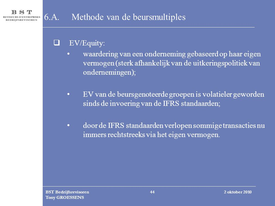 6.A. Methode van de beursmultiples