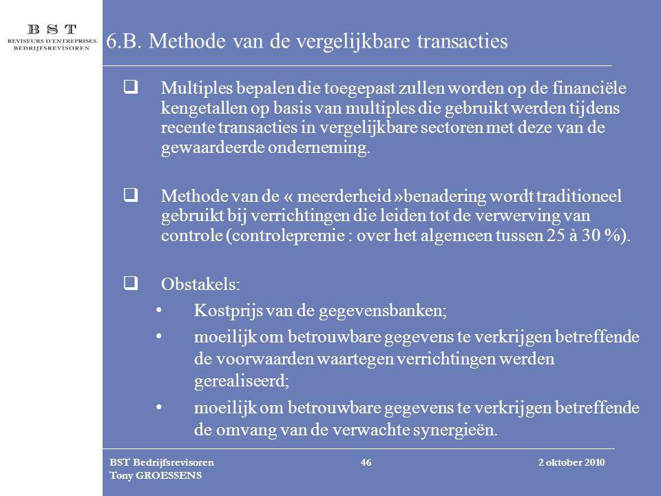 6.B. Methode van de vergelijkbare transacties