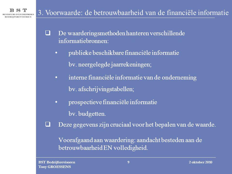 3. Voorwaarde: de betrouwbaarheid van de financiële informatie