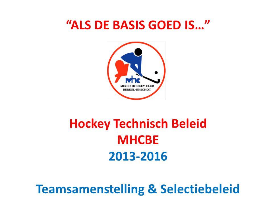 ALS DE BASIS GOED IS… Hockey Technisch Beleid MHCBE 2013-2016 Teamsamenstelling & Selectiebeleid