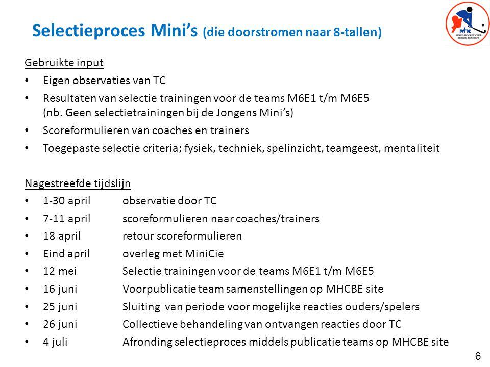 Selectieproces Mini's (die doorstromen naar 8-tallen)