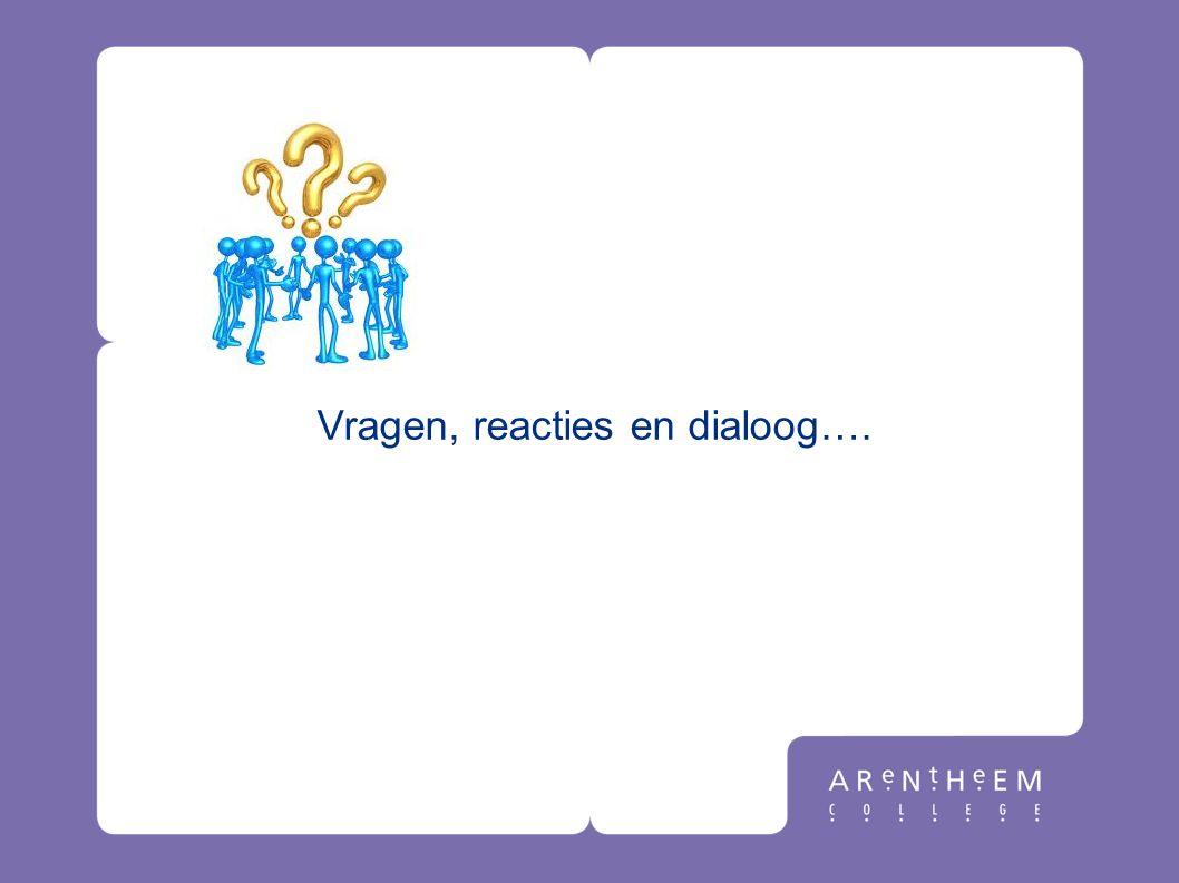 Vragen, reacties en dialoog….