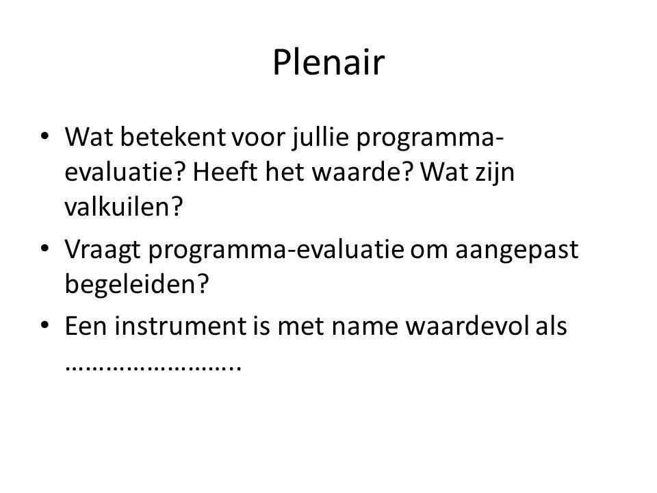 Plenair Wat betekent voor jullie programma-evaluatie Heeft het waarde Wat zijn valkuilen Vraagt programma-evaluatie om aangepast begeleiden