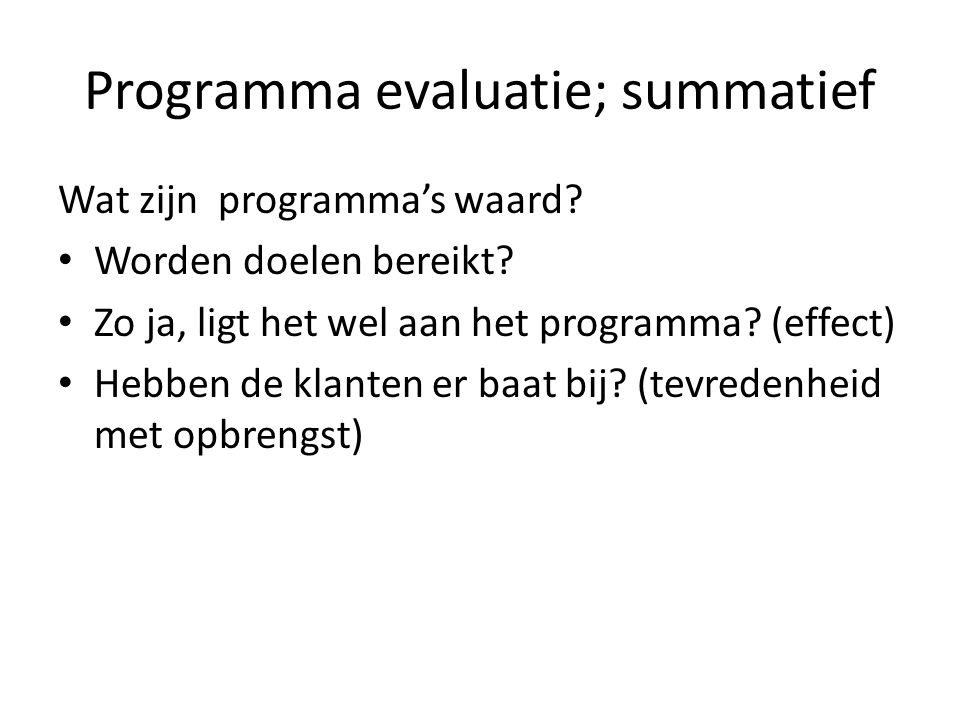 Programma evaluatie; summatief