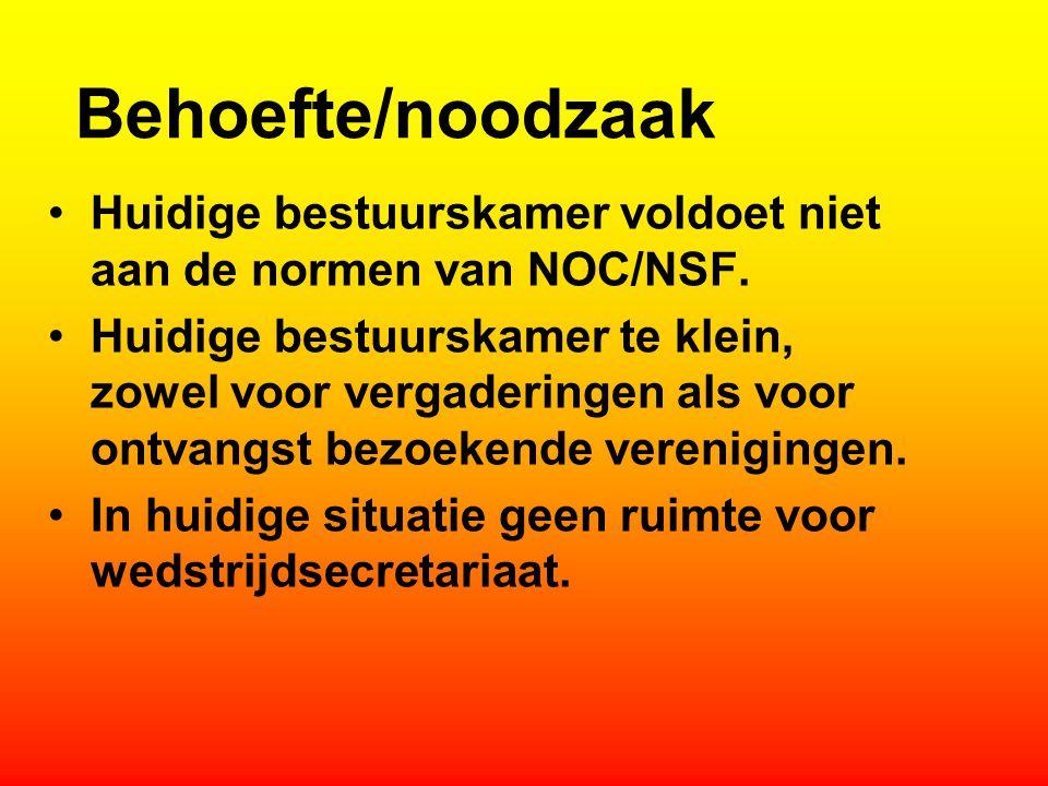 Behoefte/noodzaak Huidige bestuurskamer voldoet niet aan de normen van NOC/NSF.