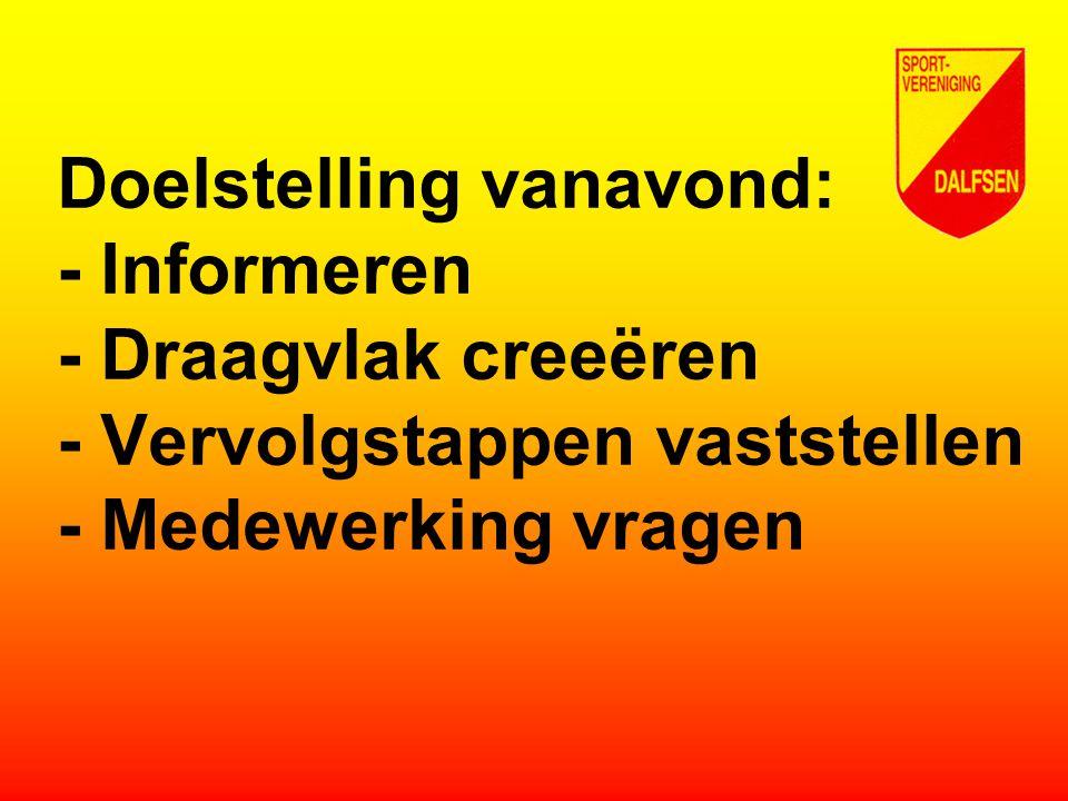 Doelstelling vanavond: - Informeren - Draagvlak creeëren - Vervolgstappen vaststellen - Medewerking vragen