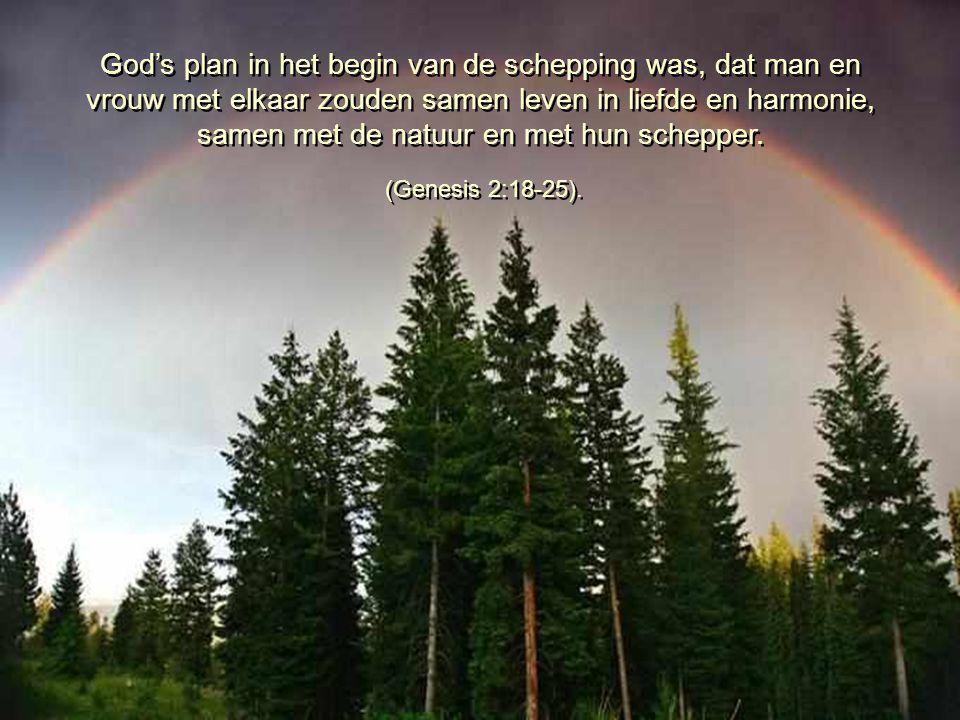 God's plan in het begin van de schepping was, dat man en vrouw met elkaar zouden samen leven in liefde en harmonie, samen met de natuur en met hun schepper.