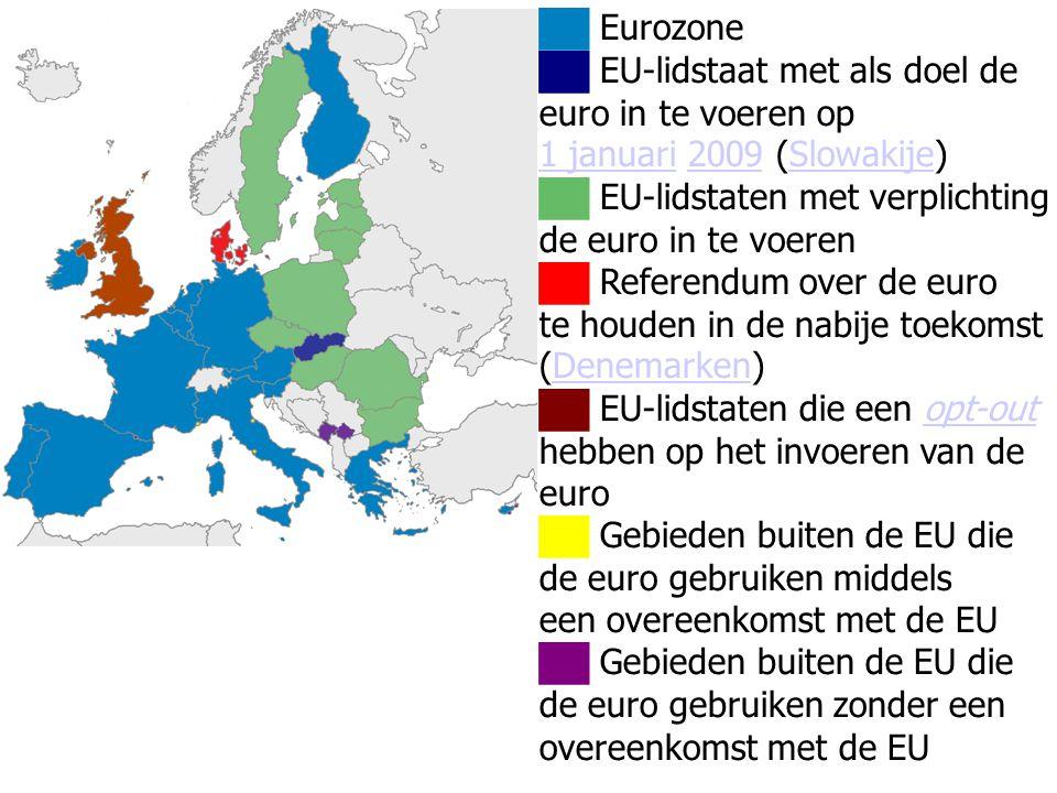 ██ Eurozone ██ EU-lidstaat met als doel de. euro in te voeren op. 1 januari 2009 (Slowakije) ██ EU-lidstaten met verplichting.