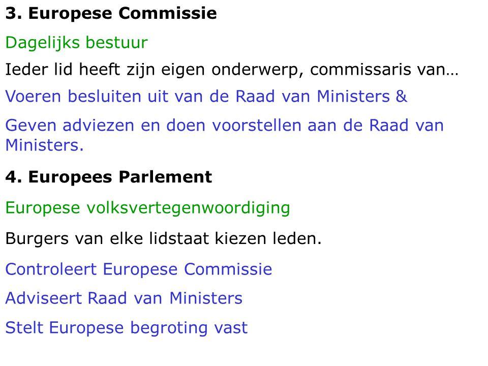 3. Europese Commissie Dagelijks bestuur. Ieder lid heeft zijn eigen onderwerp, commissaris van… Voeren besluiten uit van de Raad van Ministers &