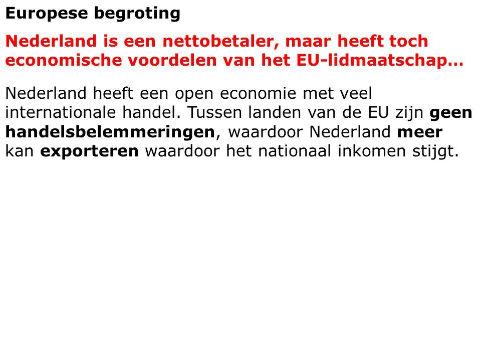 Europese begroting Nederland is een nettobetaler, maar heeft toch economische voordelen van het EU-lidmaatschap…