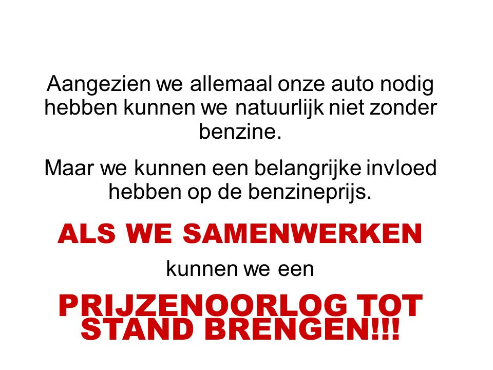PRIJZENOORLOG TOT STAND BRENGEN!!!
