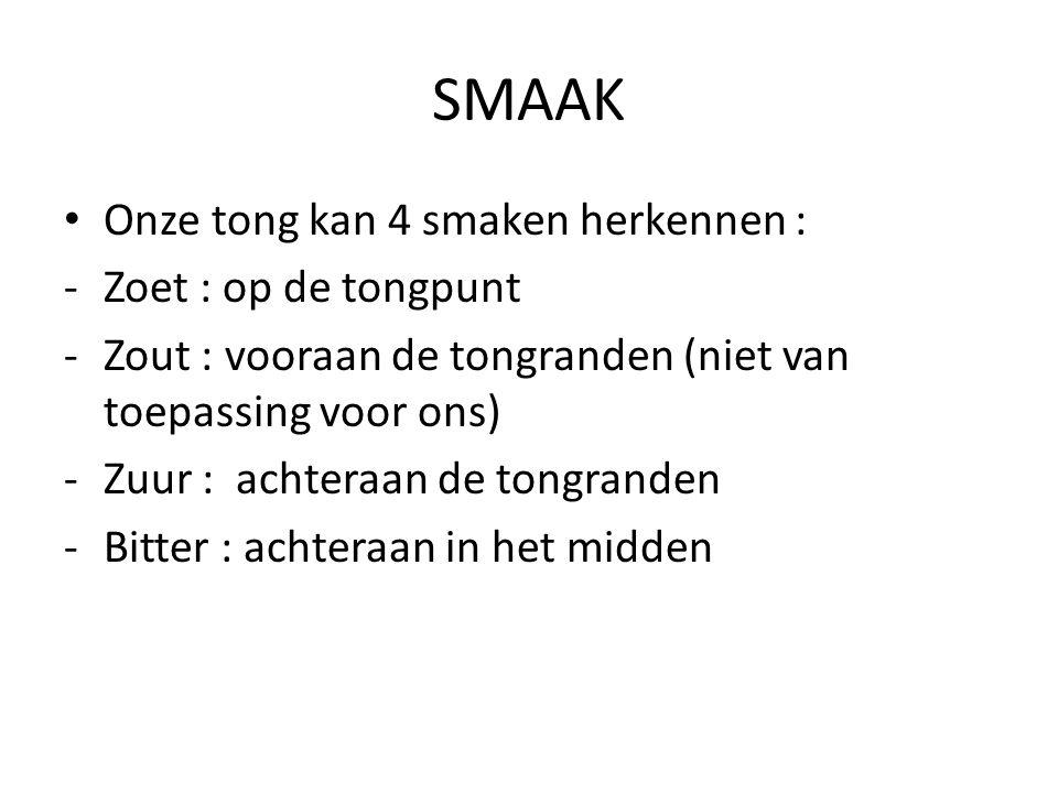 SMAAK Onze tong kan 4 smaken herkennen : Zoet : op de tongpunt