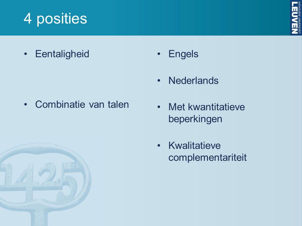 4 posities Eentaligheid Combinatie van talen Engels Nederlands