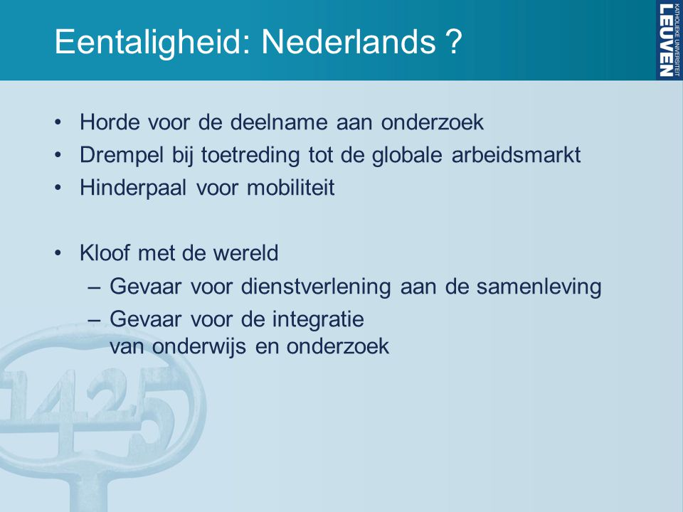 Eentaligheid: Nederlands