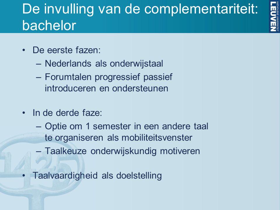 De invulling van de complementariteit: bachelor