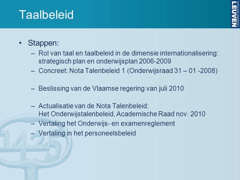 Taalbeleid Stappen: Rol van taal en taalbeleid in de dimensie internationalisering: strategisch plan en onderwijsplan 2006-2009.