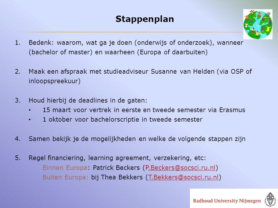 Stappenplan Bedenk: waarom, wat ga je doen (onderwijs of onderzoek), wanneer (bachelor of master) en waarheen (Europa of daarbuiten)