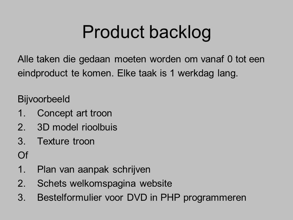 Product backlog Alle taken die gedaan moeten worden om vanaf 0 tot een