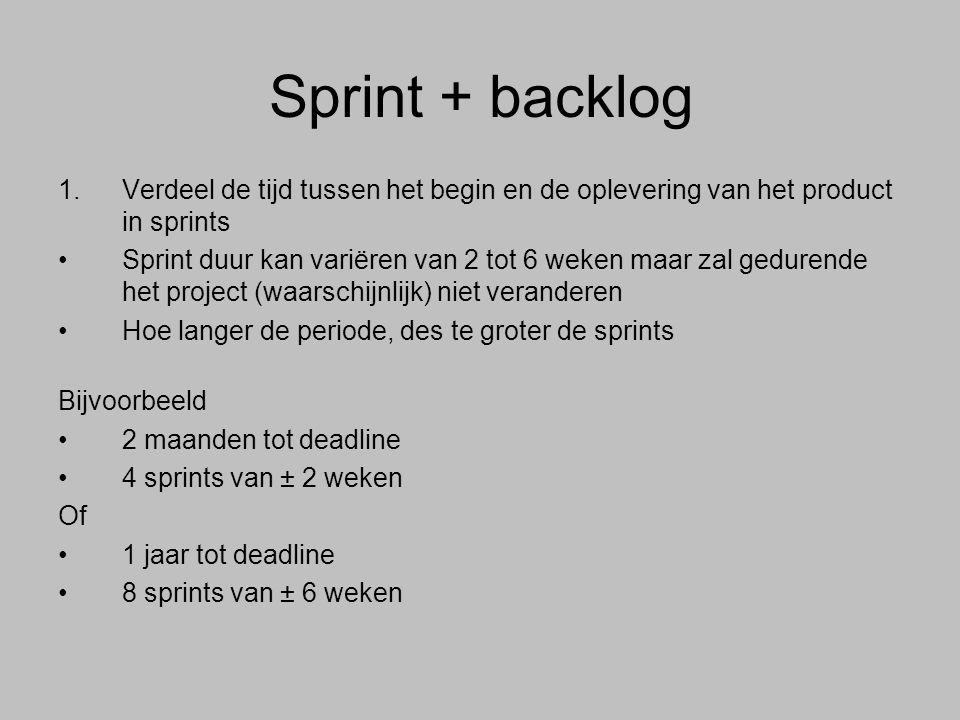Sprint + backlog Verdeel de tijd tussen het begin en de oplevering van het product in sprints.