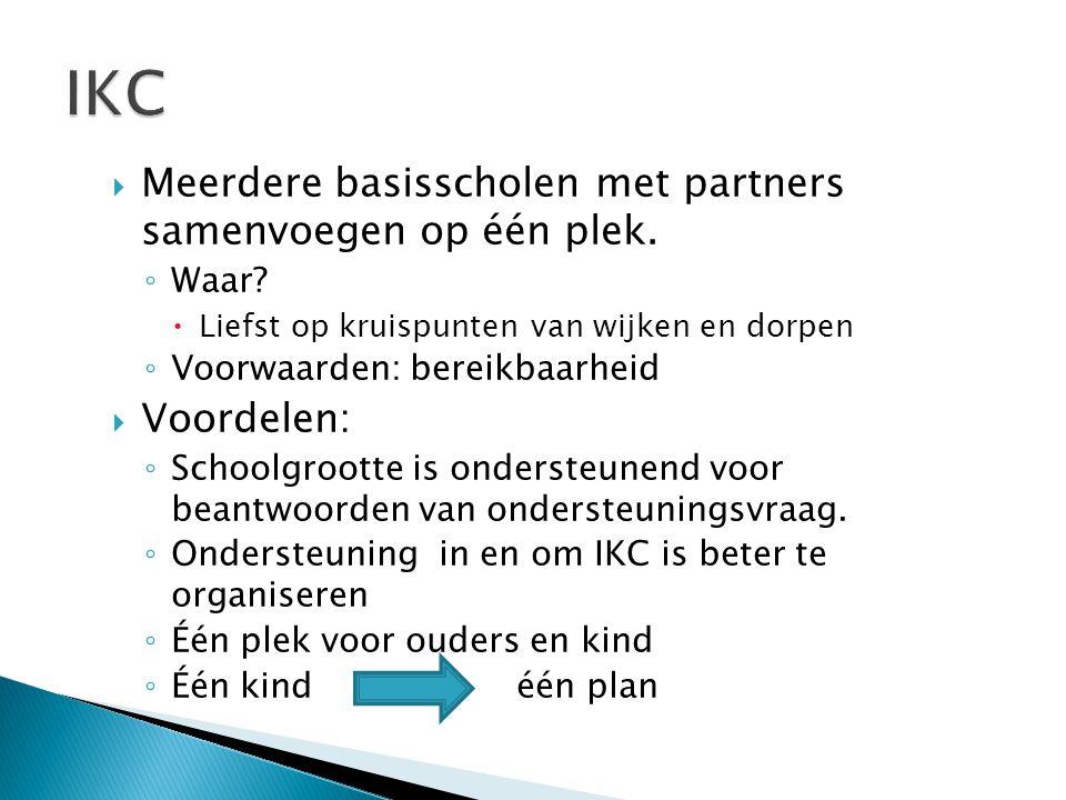 IKC Meerdere basisscholen met partners samenvoegen op één plek.