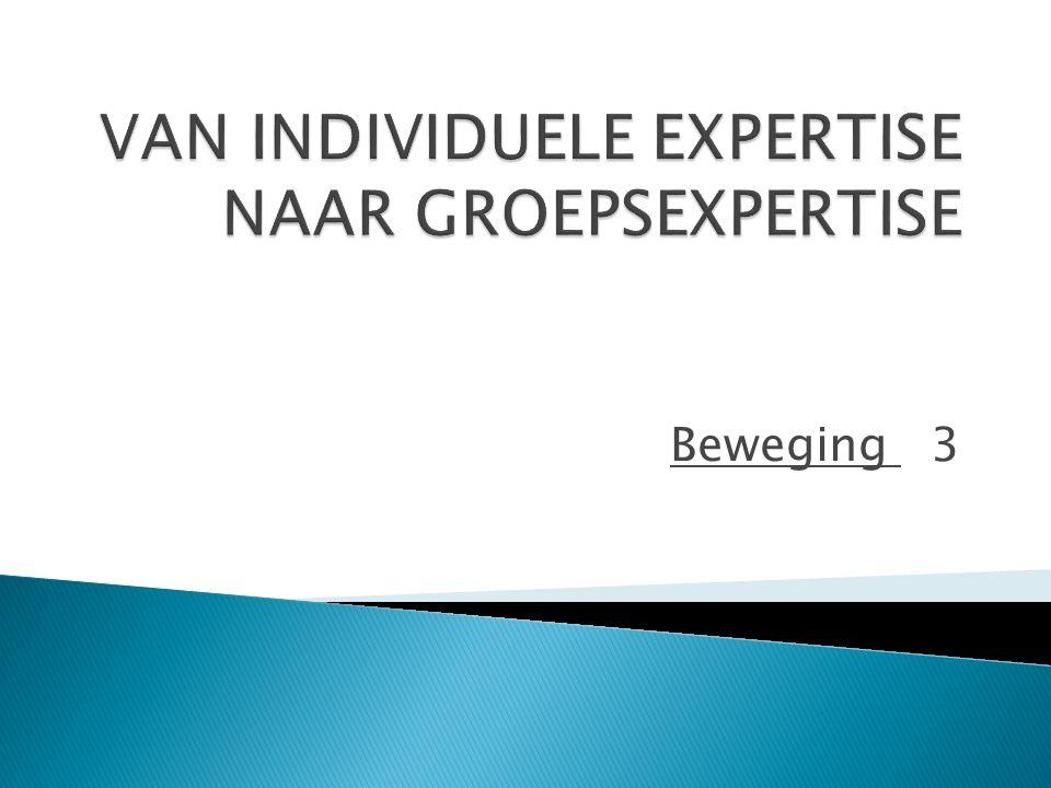 VAN INDIVIDUELE EXPERTISE NAAR GROEPSEXPERTISE