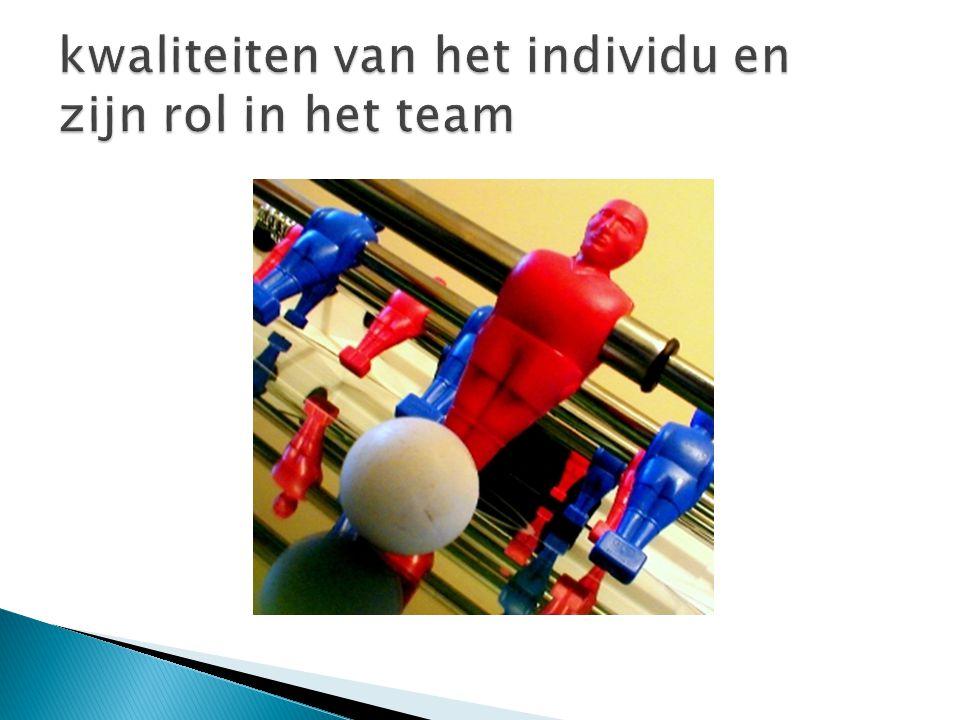 kwaliteiten van het individu en zijn rol in het team