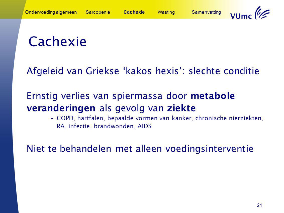 Cachexie Afgeleid van Griekse 'kakos hexis': slechte conditie
