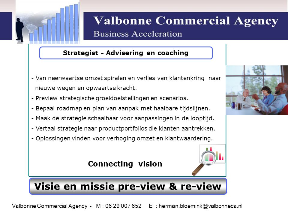 Strategist - Advisering en coaching Visie en missie pre-view & re-view