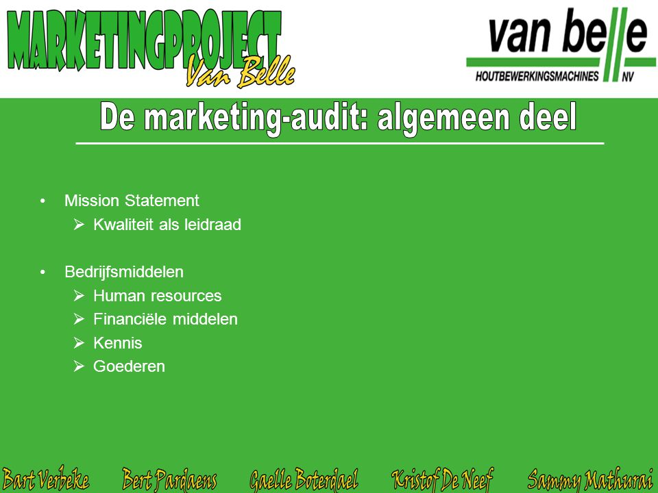 De marketing-audit: algemeen deel