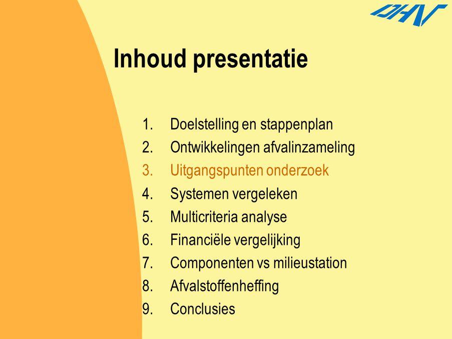 Inhoud presentatie Doelstelling en stappenplan