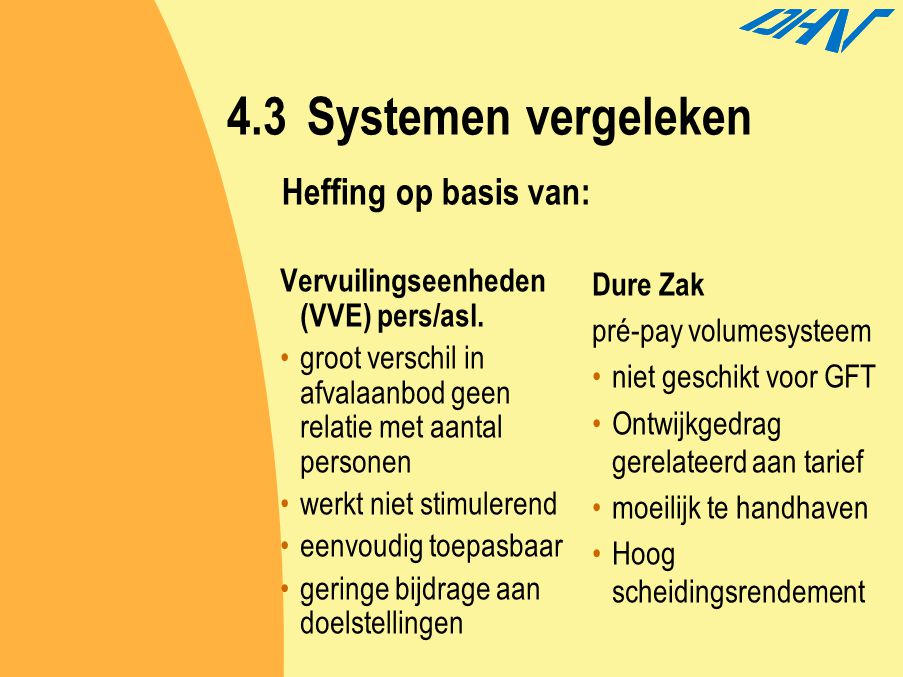4.3 Systemen vergeleken Heffing op basis van: