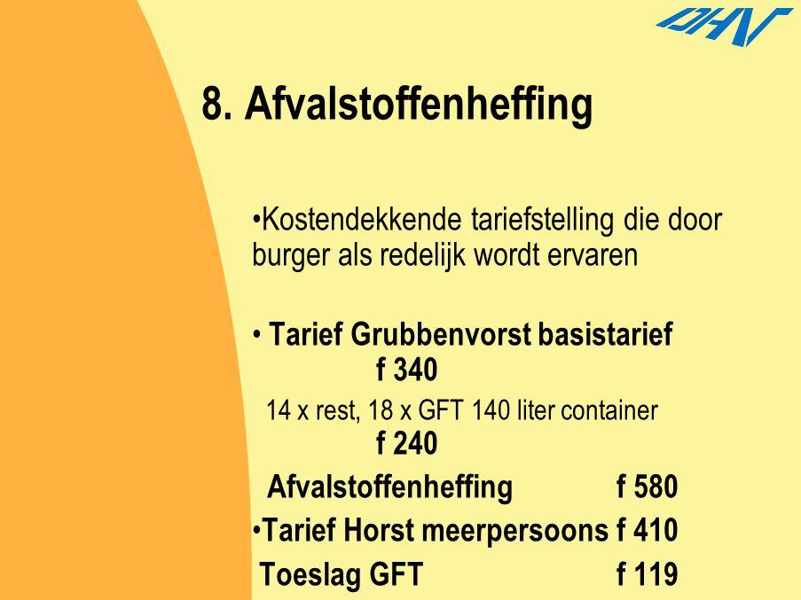 8. Afvalstoffenheffing Kostendekkende tariefstelling die door burger als redelijk wordt ervaren. Tarief Grubbenvorst basistarief f 340.