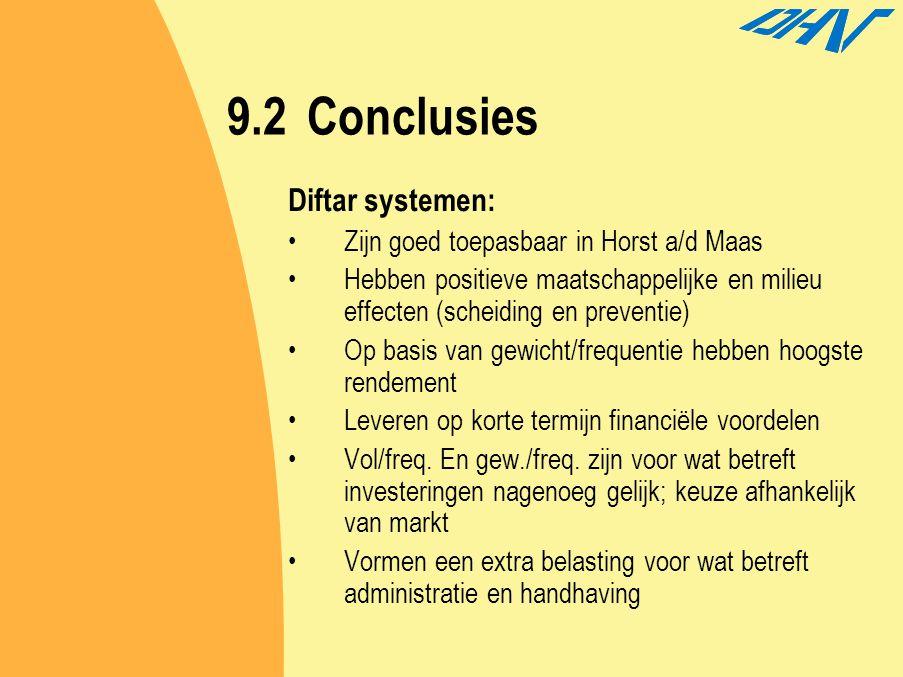 9.2 Conclusies Diftar systemen: Zijn goed toepasbaar in Horst a/d Maas