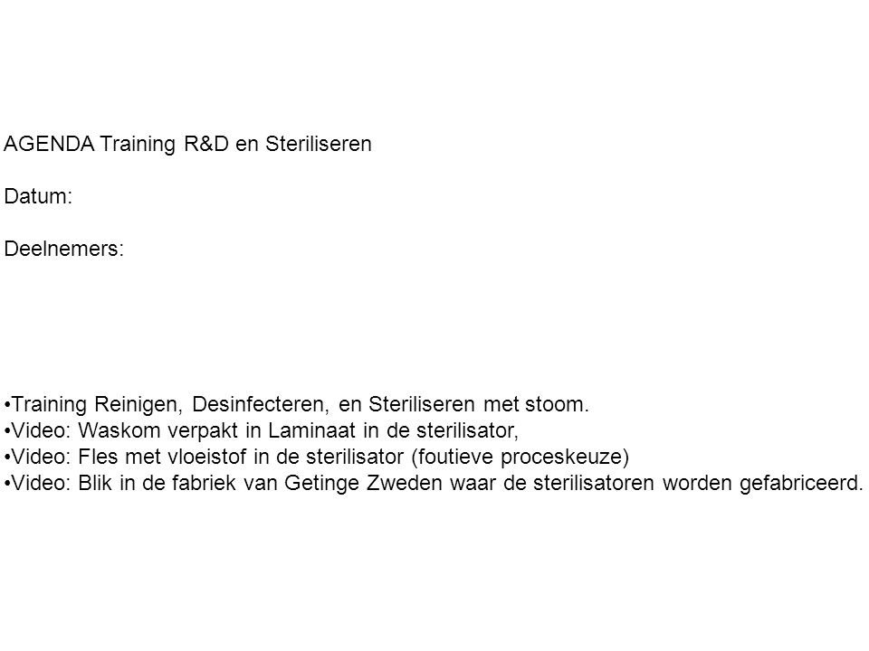 AGENDA Training R&D en Steriliseren
