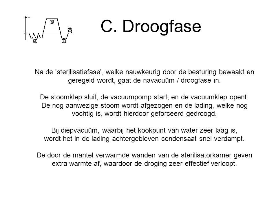 C. Droogfase Na de sterilisatiefase , welke nauwkeurig door de besturing bewaakt en geregeld wordt, gaat de navacuüm / droogfase in.