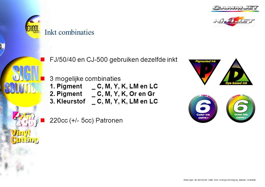Inkt combinaties FJ/50/40 en CJ-500 gebruiken dezelfde inkt