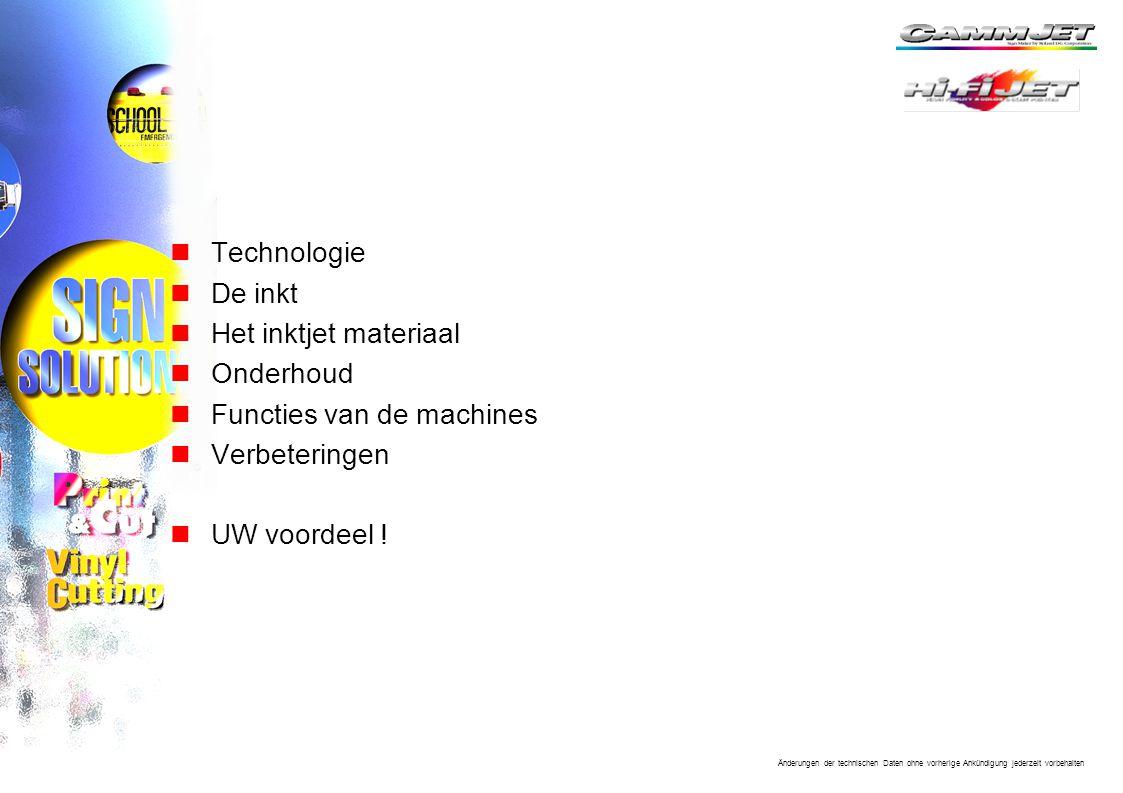 Technologie De inkt. Het inktjet materiaal. Onderhoud. Functies van de machines. Verbeteringen.