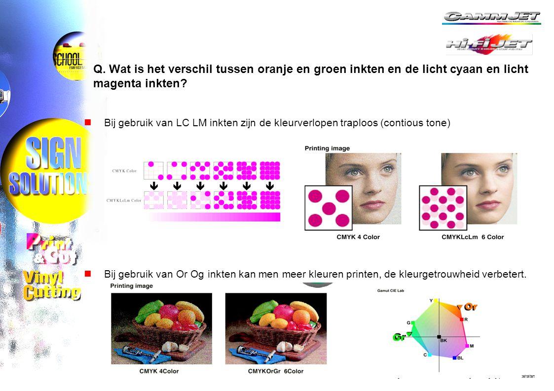 Q. Wat is het verschil tussen oranje en groen inkten en de licht cyaan en licht magenta inkten