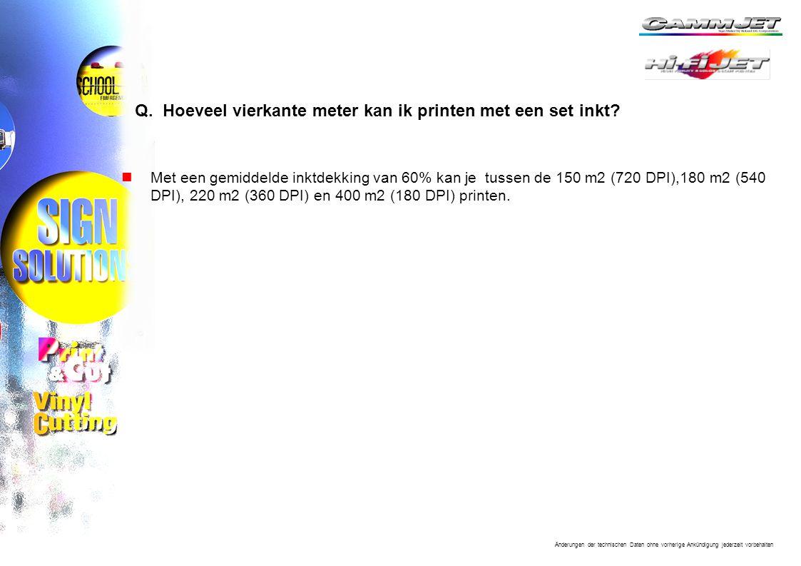 Q. Hoeveel vierkante meter kan ik printen met een set inkt