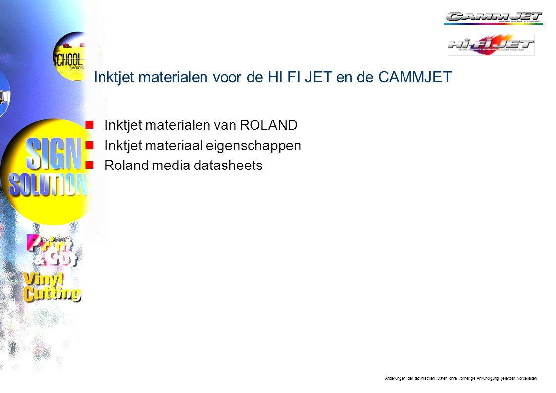 Inktjet materialen voor de HI FI JET en de CAMMJET