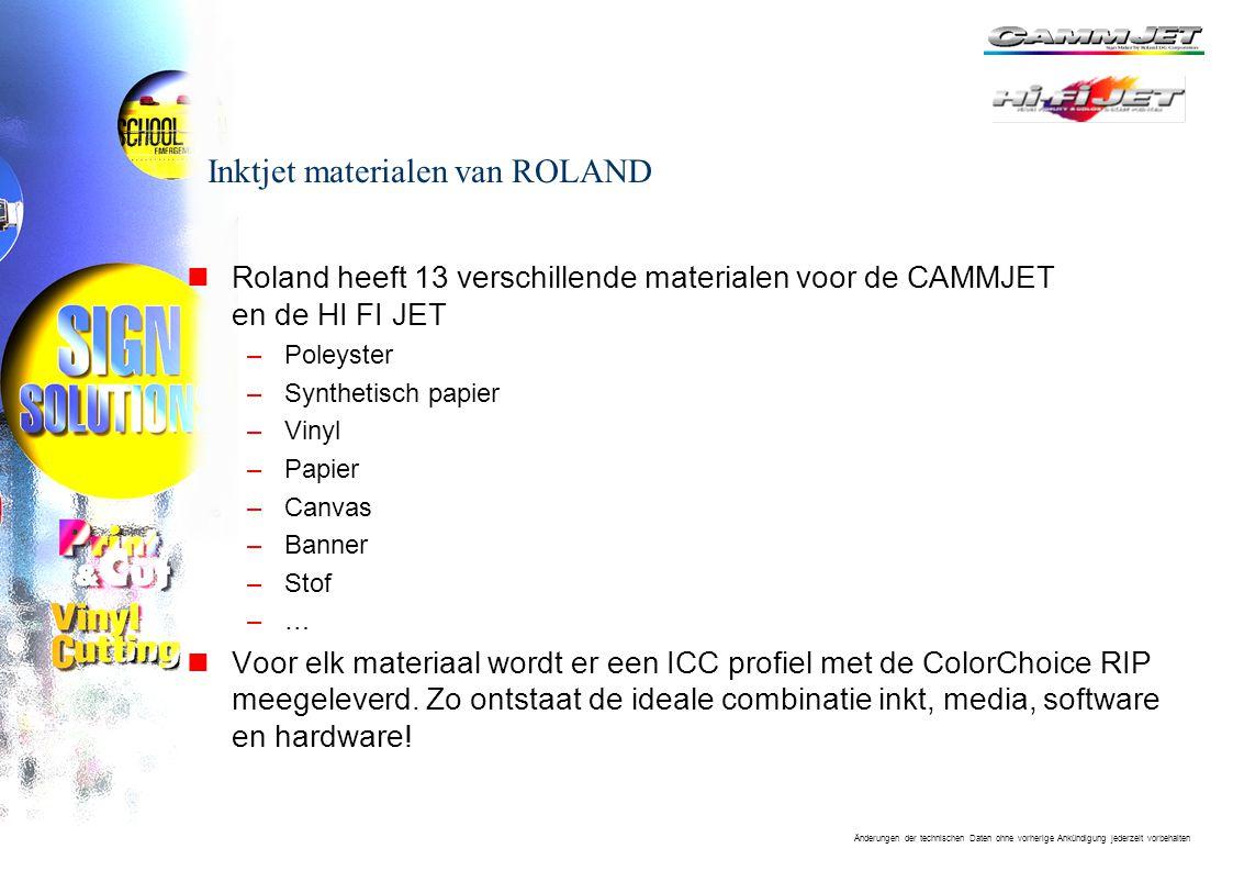 Inktjet materialen van ROLAND