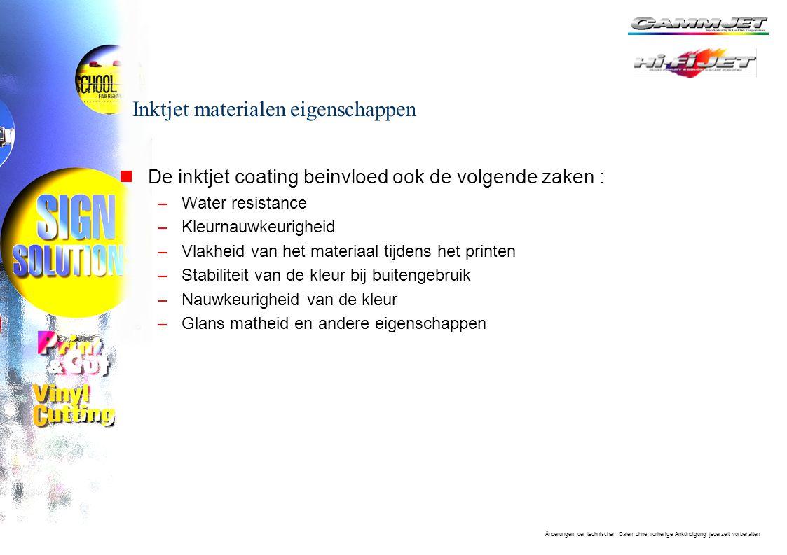 Inktjet materialen eigenschappen