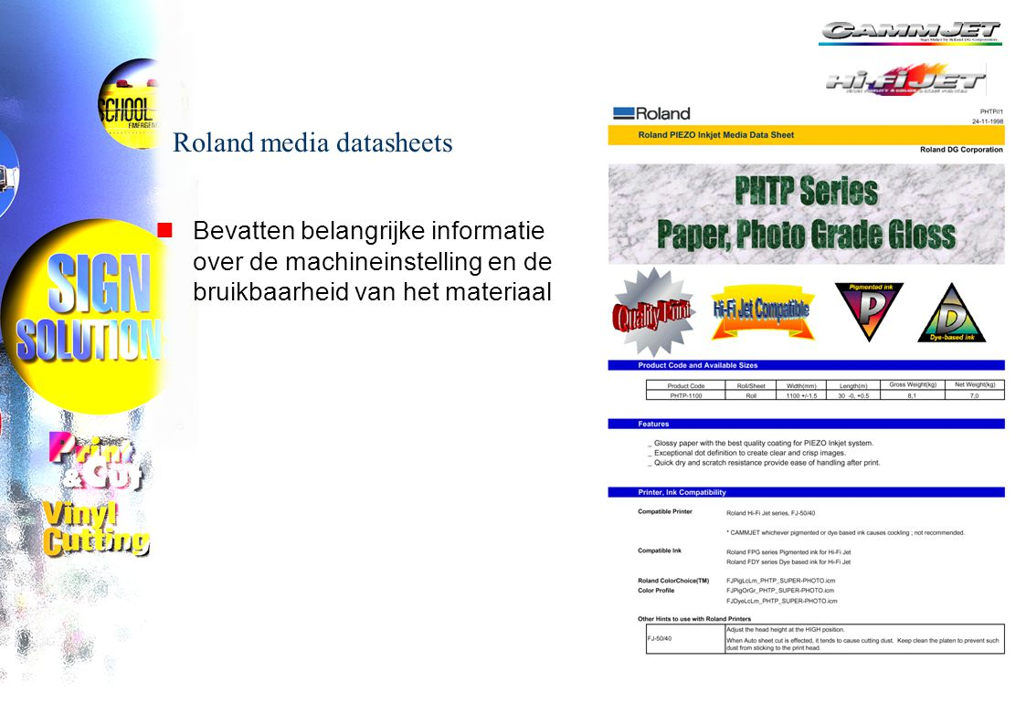 Roland media datasheets