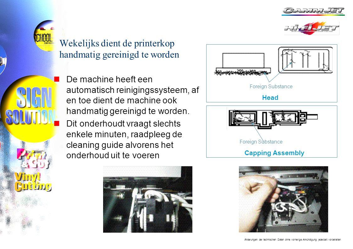 Wekelijks dient de printerkop handmatig gereinigd te worden
