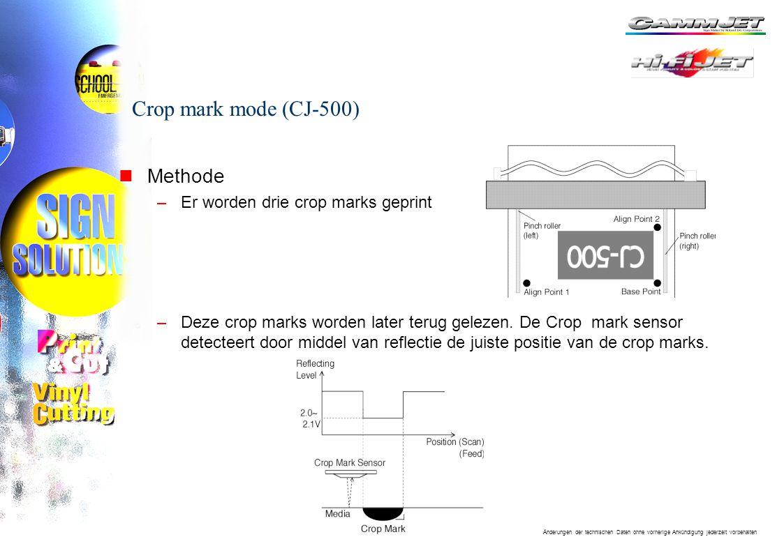 Crop mark mode (CJ-500) Methode Er worden drie crop marks geprint