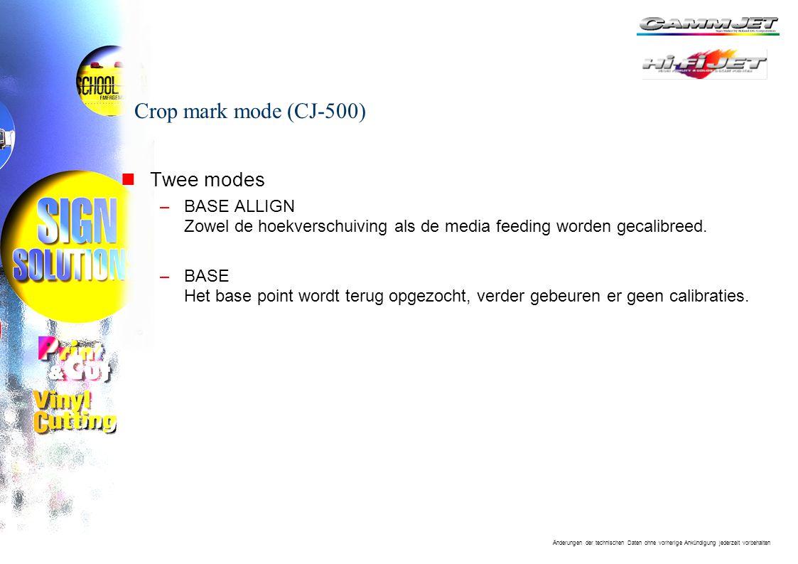 Crop mark mode (CJ-500) Twee modes