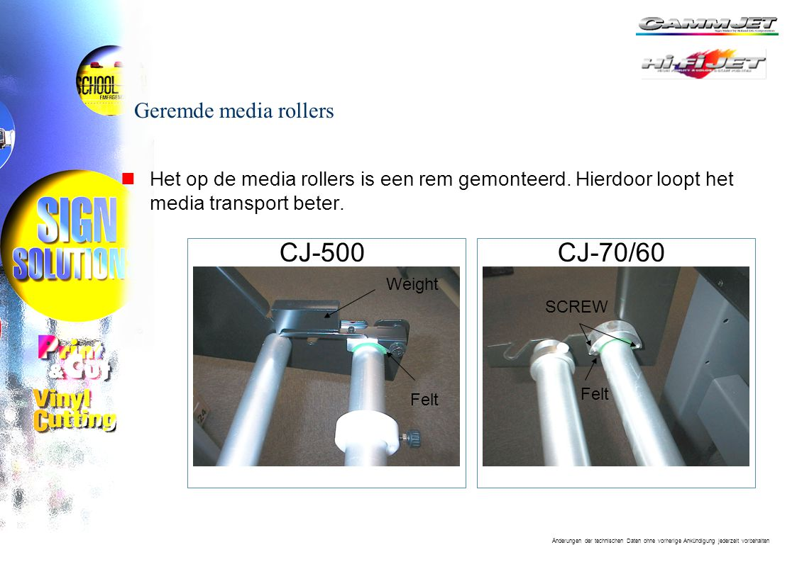 CJ-500 CJ-70/60 Geremde media rollers