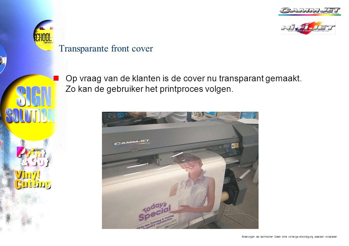 Transparante front cover